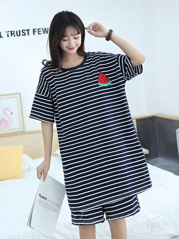 Casual Striped Comfortable Suits Pajamas