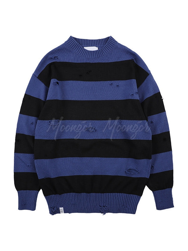 Loose Striped Holes Men's Sweater