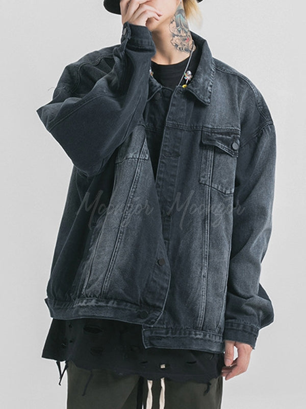 Men Fashion Solid Denim Cardigan Coat