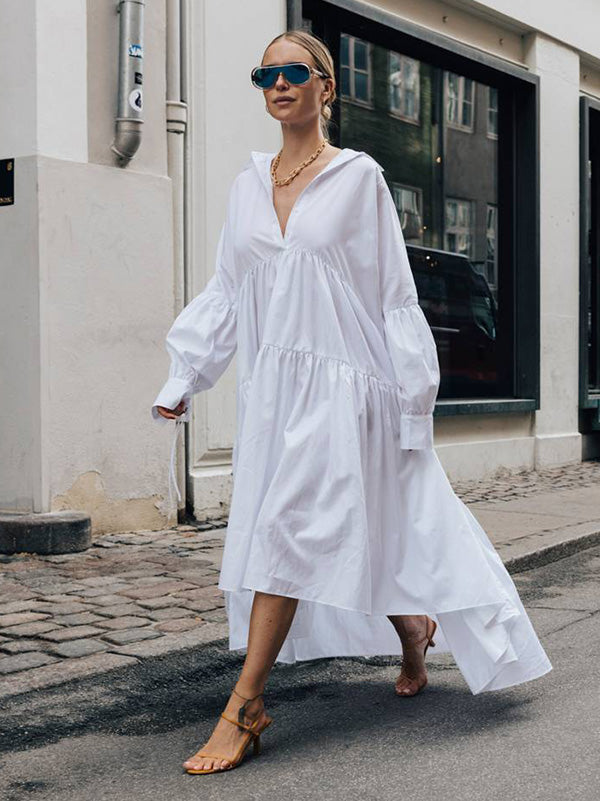 Asymmetric Split-joint Lapel Collar Maxi Shirtdress