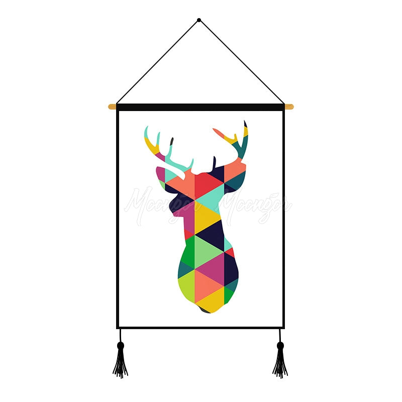 Deer Geometric Pattern Printed Wall Hanging Decoration