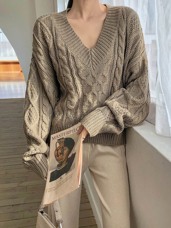 Loose V-Neck Thicken Knitting Sweater