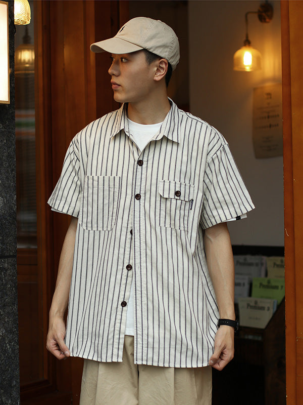 Vintage Striped Short Sleeves Men Shirt