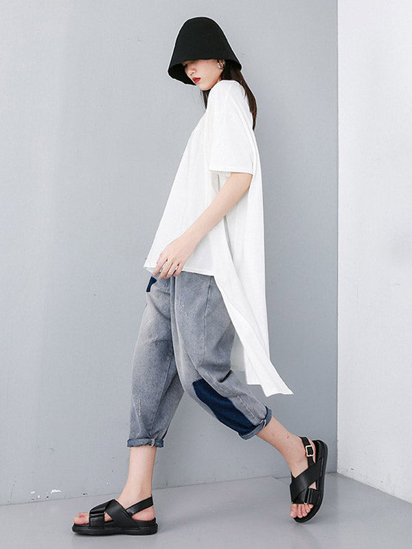Solid Asymmetric Round-neck T-Shirt