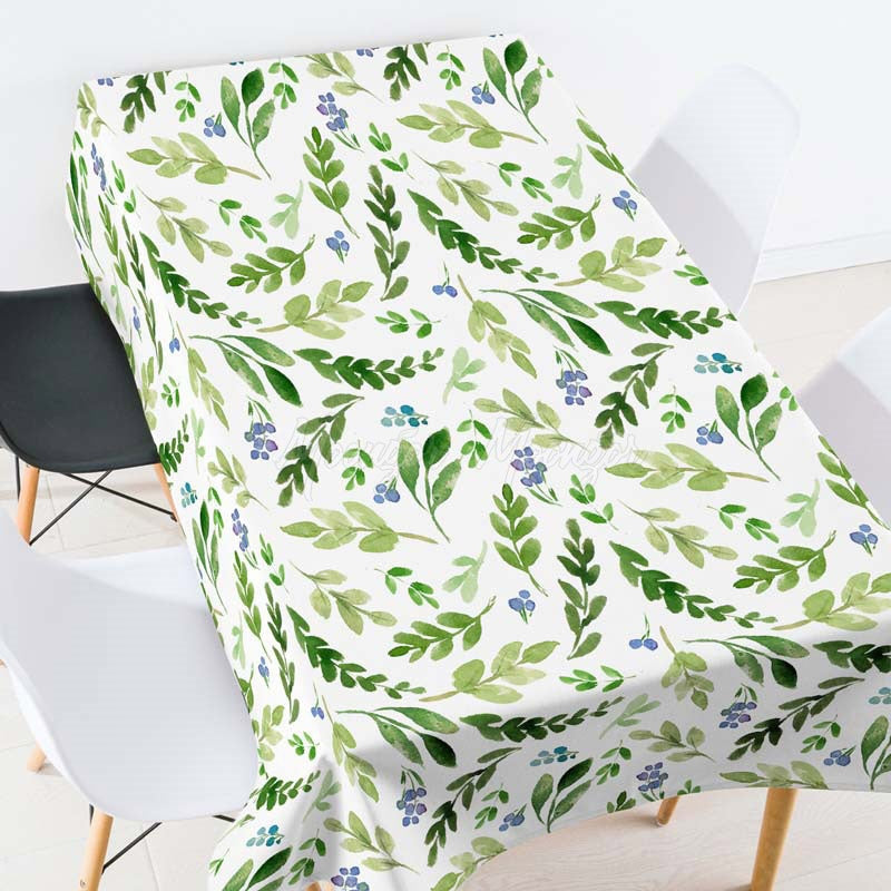 Light Green Leaves Plants Casual Printed Tablecloth