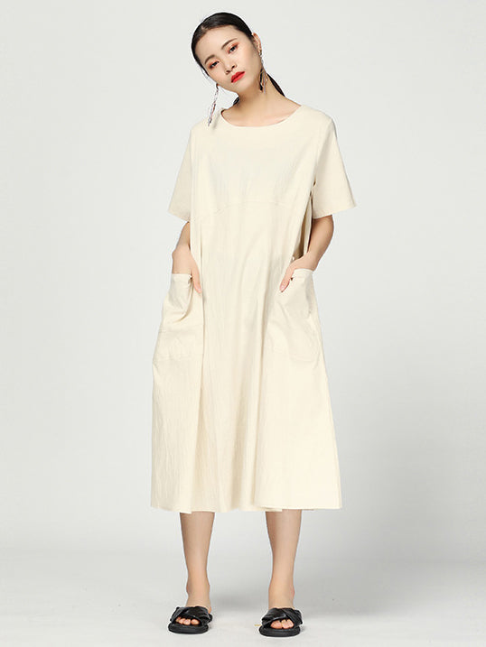 Simple Solid Split-joint Round-neck Dress