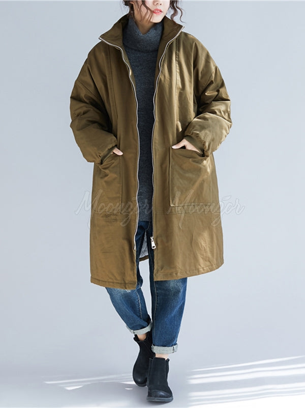 Loose Plain Warm Quilted Long Coat