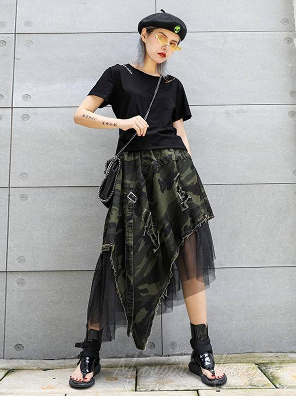 Camouflage Cropped Mesh Splicing Skirt