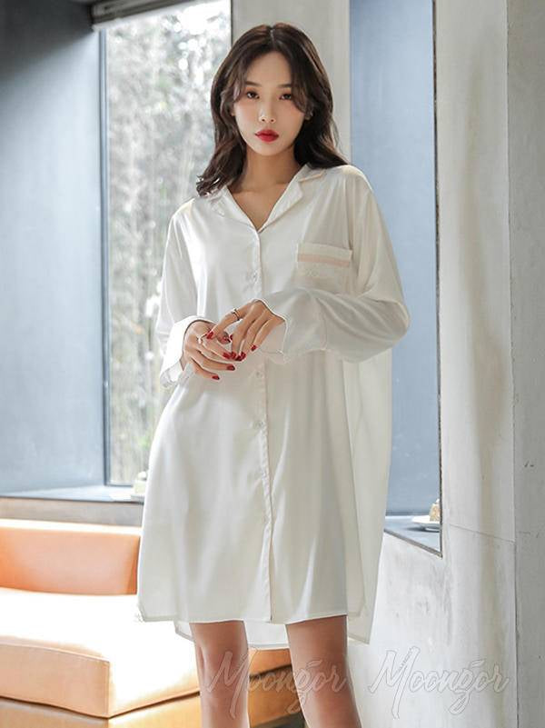 Lace Splicing Loose Comfortable Shirt Pajamas
