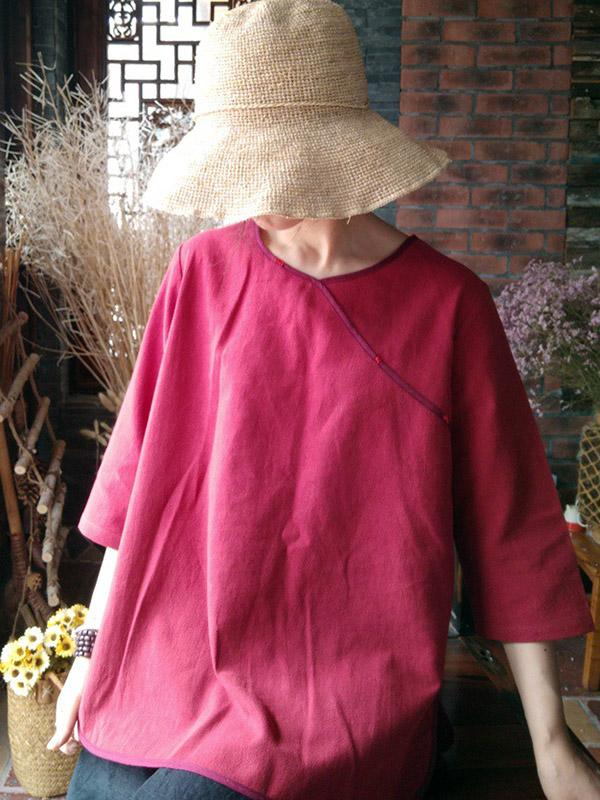 Manual 3/4 Sleeves Soft Linen T-shirts