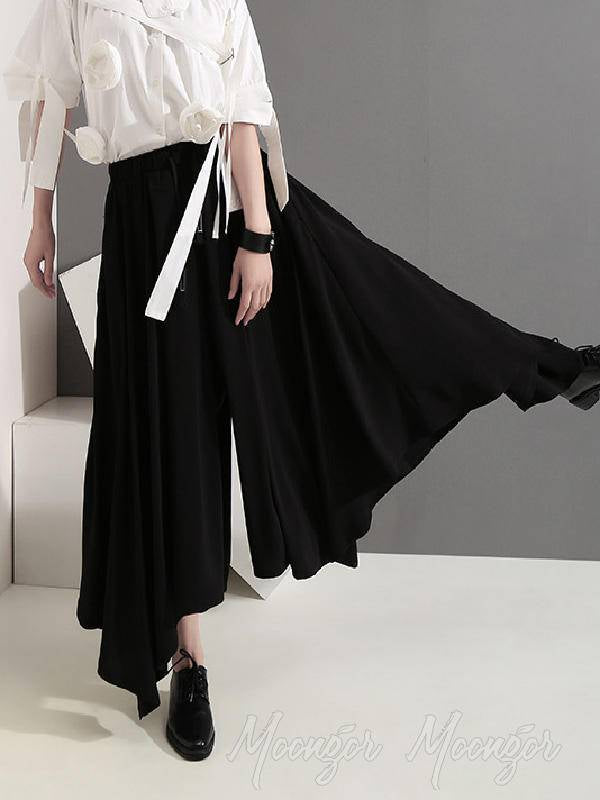 Black Empire Casual Cropped Wide-Leg Pants