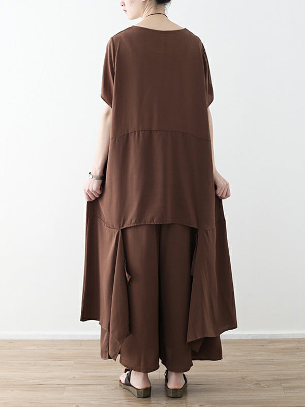 Loose Coffee Split-joint Cropped T-shirt&Wide Leg Pants Suits