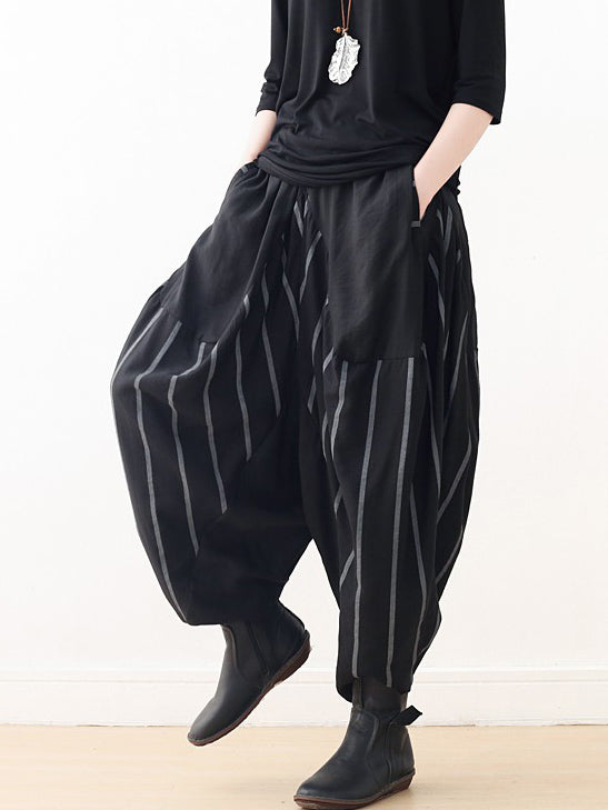 Loose Black Striped Split-joint Casual Pants