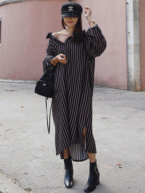 Loose Striped Lapel Split-joint Blouse Dress