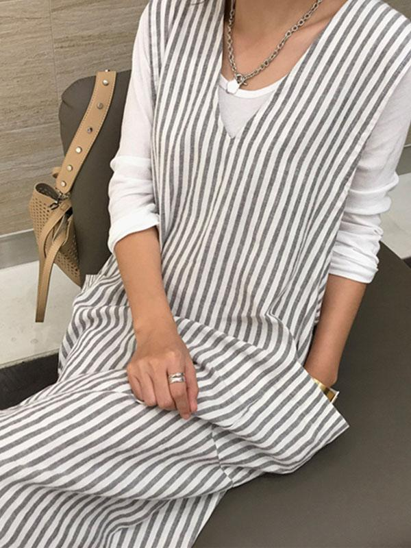V-neck Stripe Long Dress&Shirt Suit