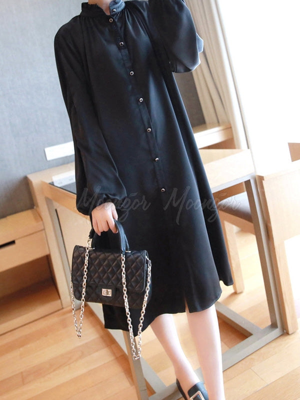 Vintage Lantern Sleeved Chiffon Blouse Dress