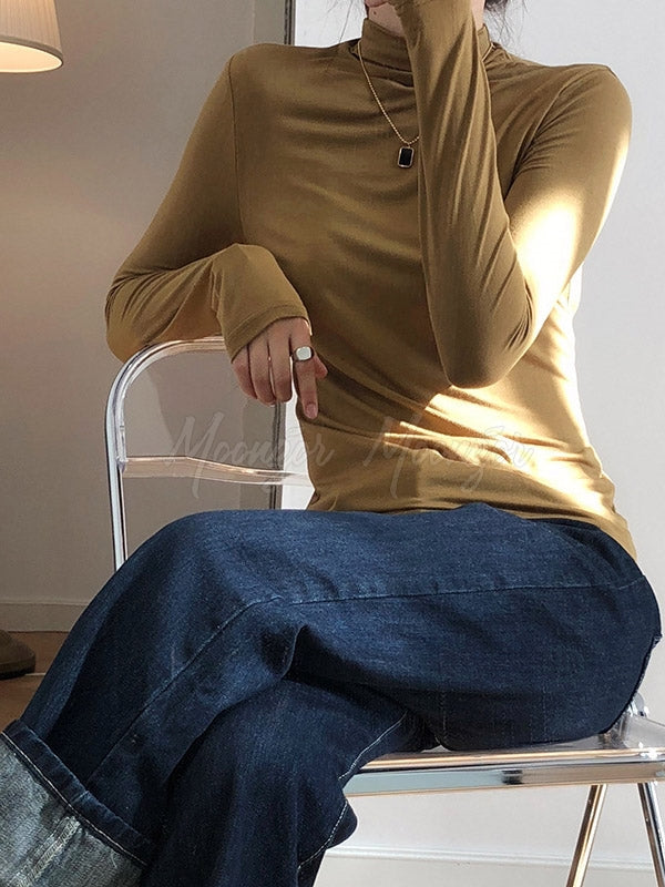Casual Solid Modal Half High-Neck Base Shirt