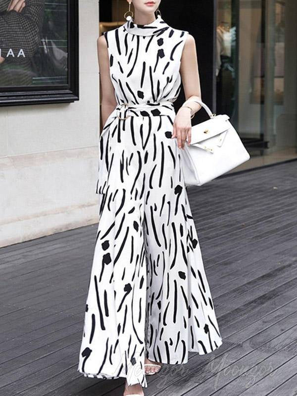 Contrast Color Stripe Sleeveless Loose Empire Wide-Leg Jumpsuit