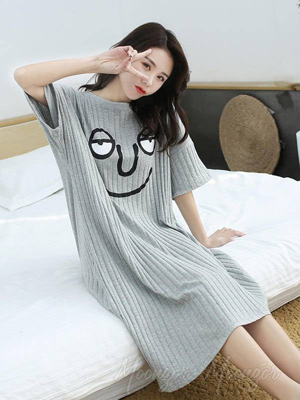 Loose Cotton Plus Size Cartoon Printing Pajamas