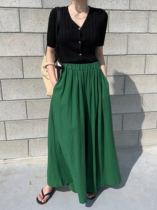 Loose Wide-leg Linen Pants