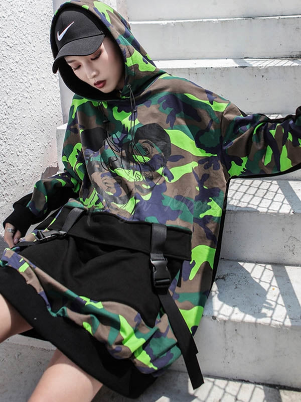 Casual Camouflage Printed Hoodies