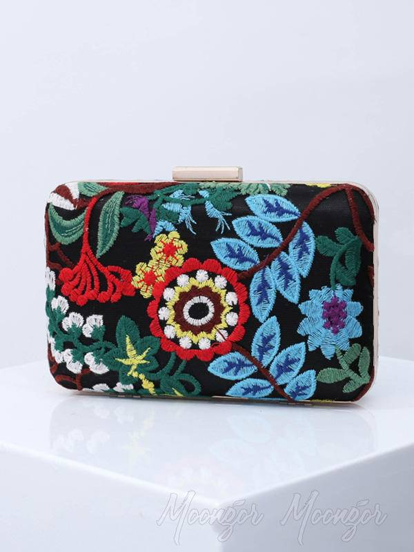 Ethnic Style Embroidery Flower Hand Bag