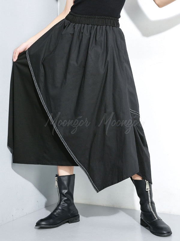 Split-joint Cropped Elastic Waist Skirt