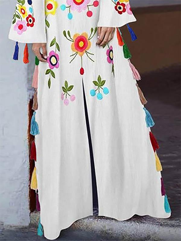 Embroidered Tasseled Split-front Maxi Dress