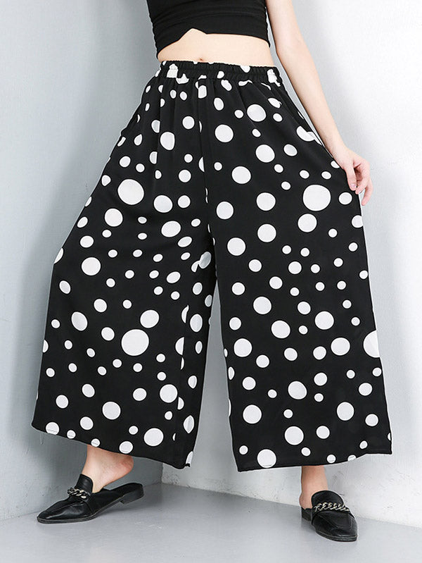 Polka-Dot Elastic Waist Wide Leg Pants