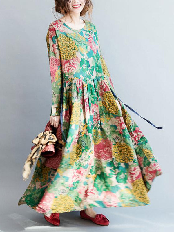 National Style Flower Printed Long Dress
