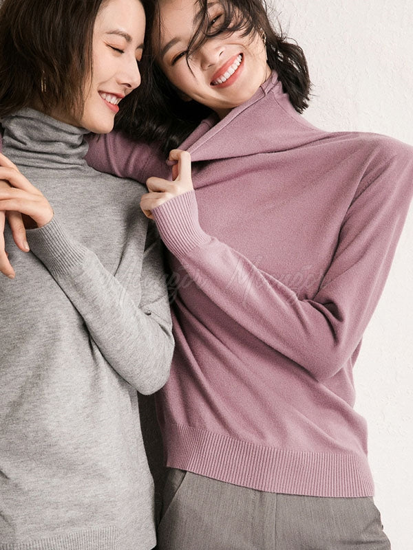 Solid Color High Collar Knitting Sweater