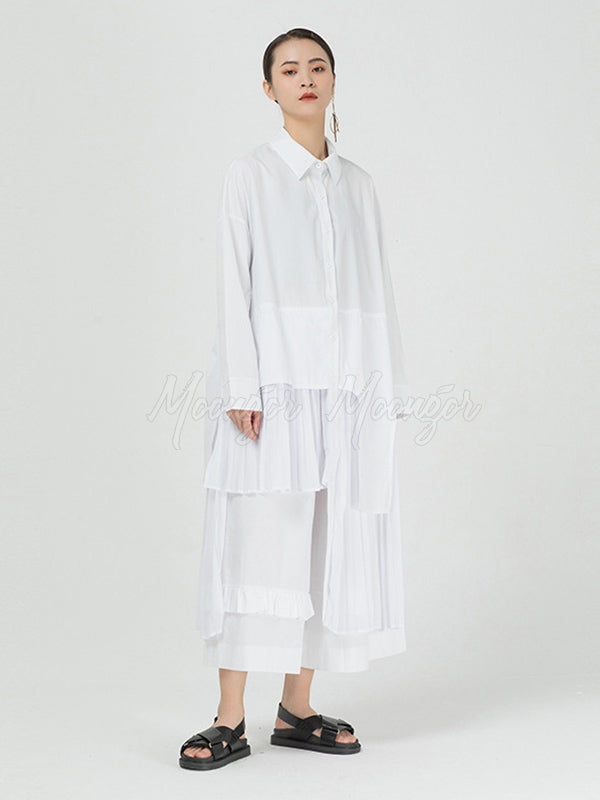 Cropped Splicing Pleated Shirt Midi Dress
