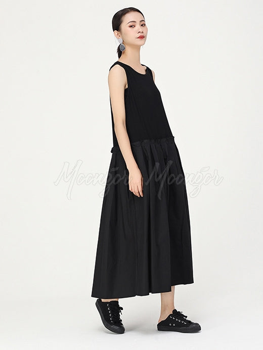 Two-Pieces Splice Cropped Midi Dress Set