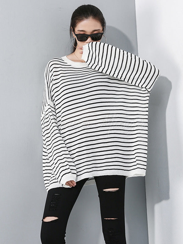 Casual Striped Round-neck Knitwear