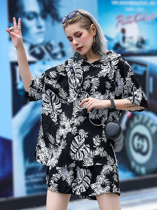 Loose Hooded Floral Printed T-shirt And Shorts Suits