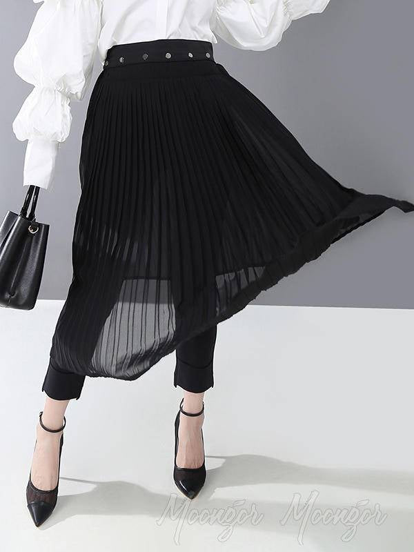 Black Pleated Splicing Skirt