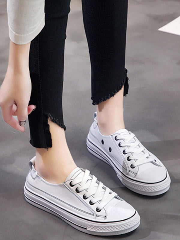 Lace Up Pu Leather Sneakers