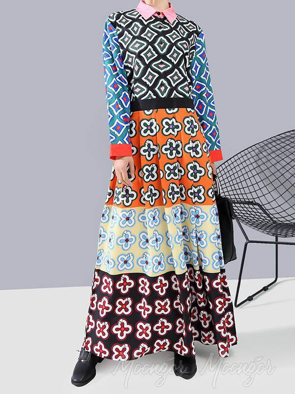 Loose High-Waist Print Maxi Dress