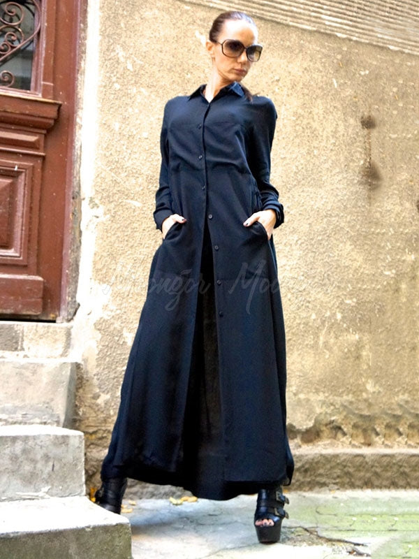 Navy-Blue Split-Joint Lapel Blouse Dress