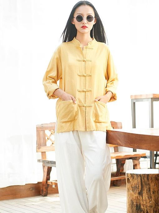 Original Frog Long Sleeves Ramie Cotton Blouse Outwears