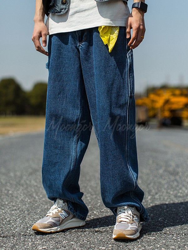 Men Loose Wide Leg Jean Pants