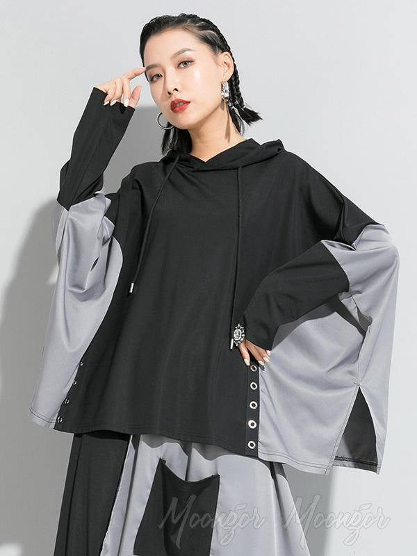 Tide Loose Splicing Split Side Cropped Hooded T-Shirt
