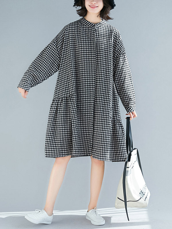 Loose Comfortable Plaid Long Dress