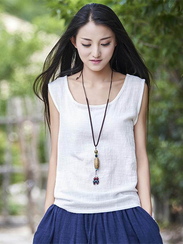 3 Colors Sleeveless Ramie Cotton T-shirt