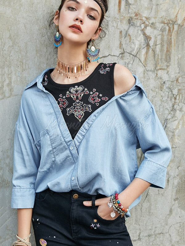 Liebo Casual Off The Shoulder False-Two Shirt