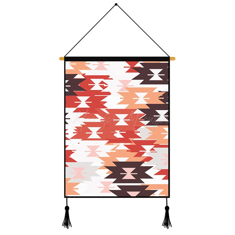 Orange Geometric Pattern Printed Wall Hanging Decoration