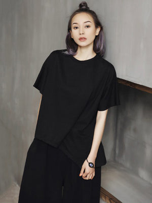 Cropped Wrinkle Solid T-shirt
