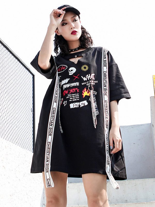 Summer Hip-hop Printed T-shirt Dress