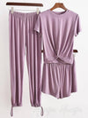 Three Pieces Solid Color Comfort T-Shirt And Pants Suit