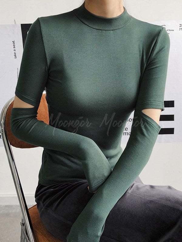 Holey Sleeve Solid Color Blouses